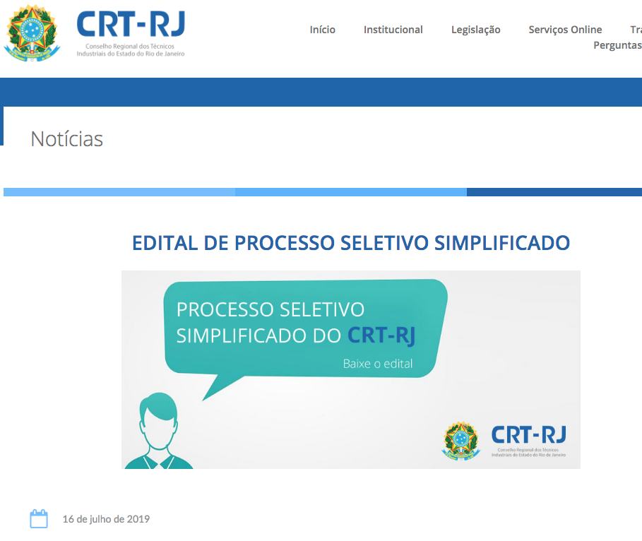 Divulgação do Edital no Site (Clique Aqui)