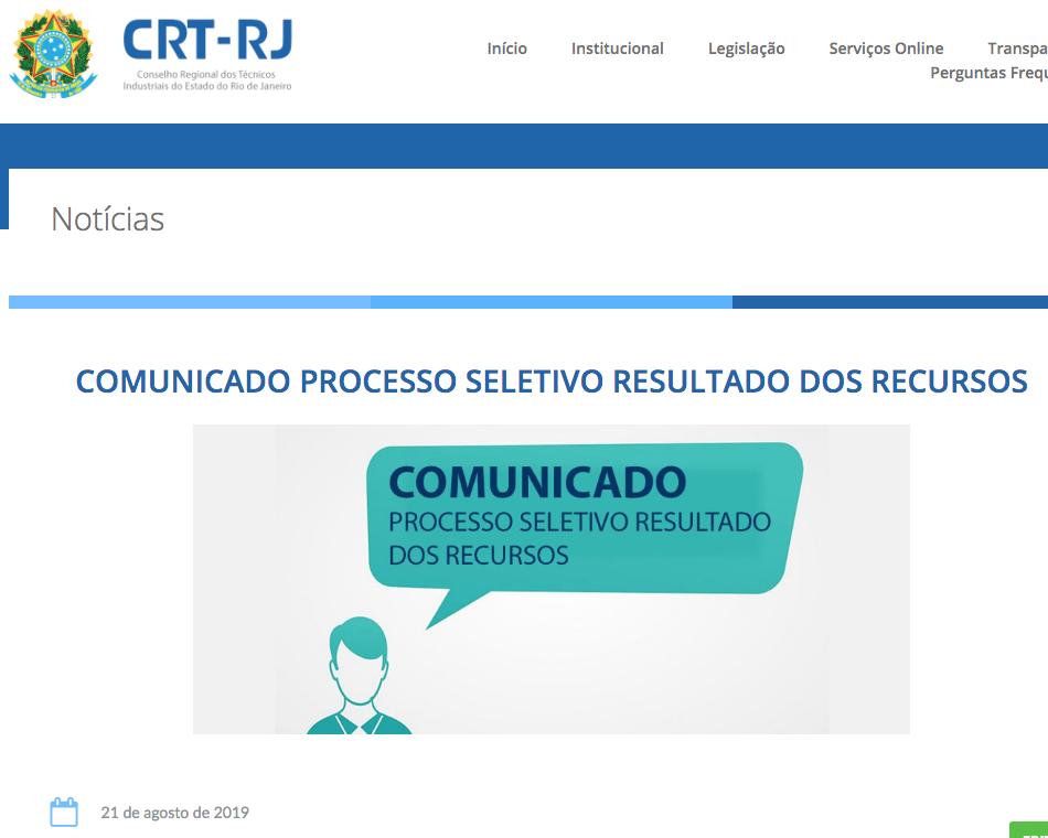 Comunicado Processo Seletivo Resultado dos Recursos no Site (Clique Aqui)