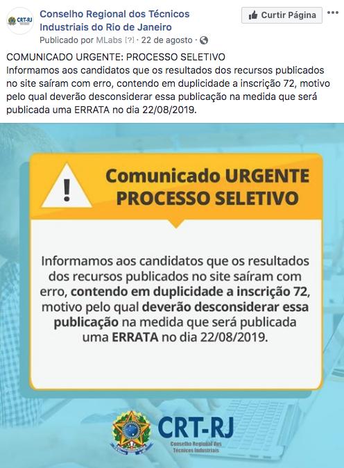 Aviso sobre a divulgação de Errata nas Redes Sociais (Clique Aqui)