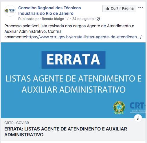 Errata Listas De Agente De Atendimento E Auxiliar Administrativo nas Redes Sociais (Clique Aqui)