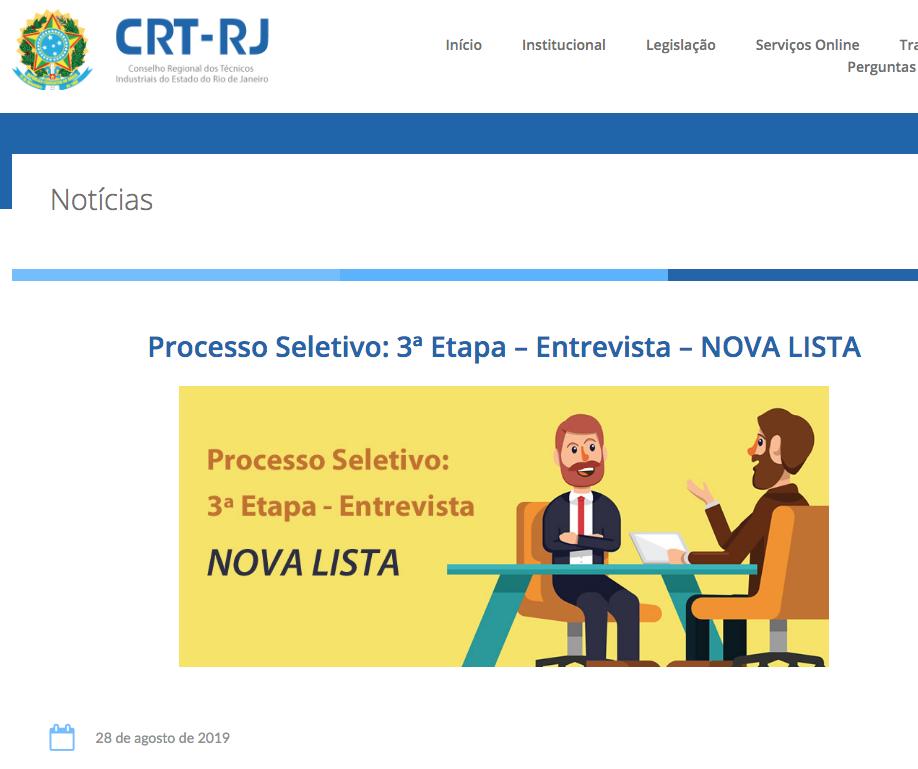 Divulgação Nova Lista Entrevistas 3ª Etapa no Site (Clique Aqui)
