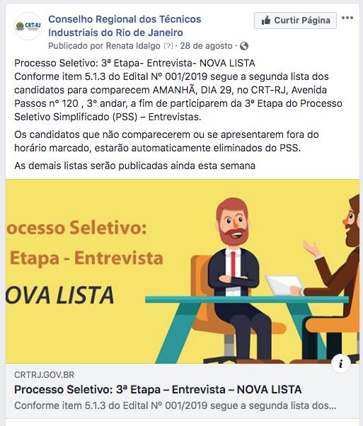 Divulgação Nova Lista Entrevistas 3ª Etapa Nas Redes Sociais (Clique Aqui)