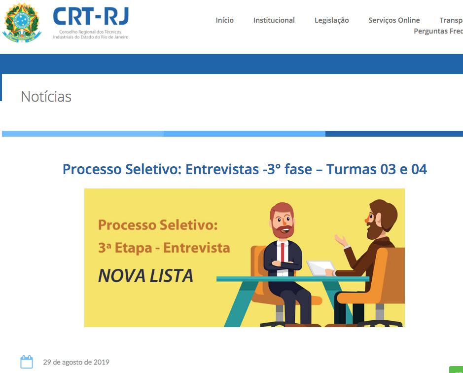 Convocação Entrevistas Turmas 03 e 04 no Site (Clique Aqui)
