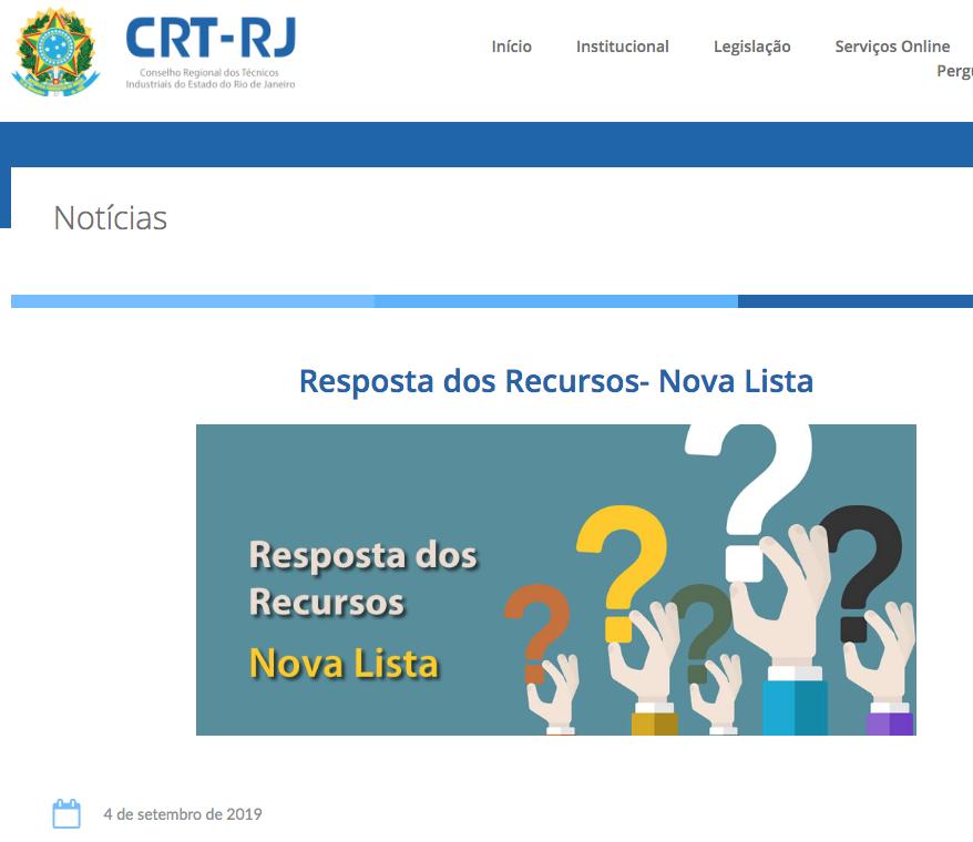 Resposta dos Recursos – Nova Lista no site (Clique Aqui)